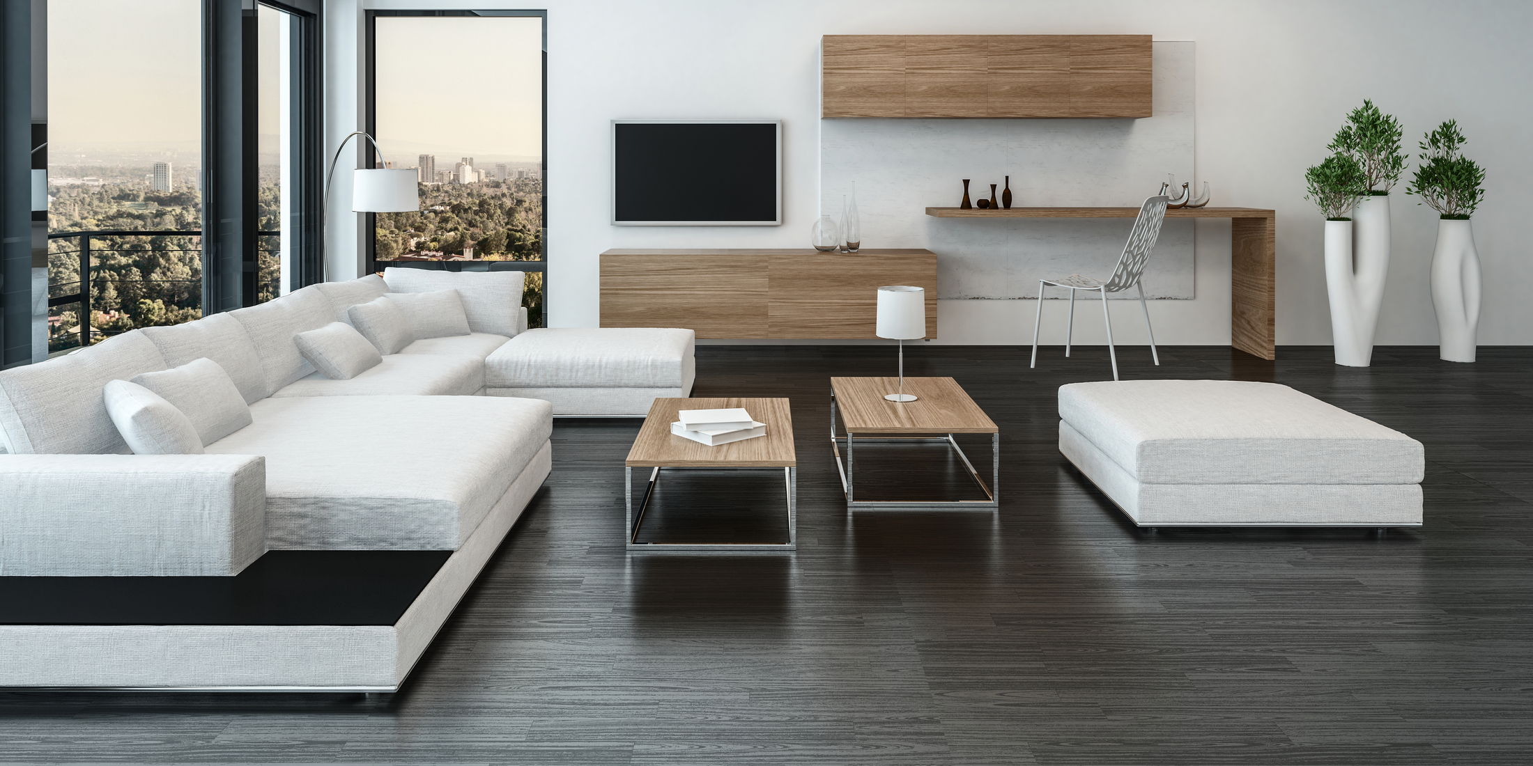Elegant modern white living room interior with back accents and